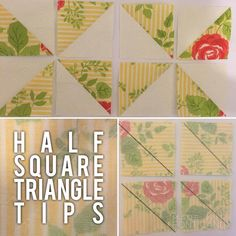 Directional fabric: A simple tip when making an even amount of HST's for a block is to sew half in one direction, and half in another. Note that the prints (shown here with their wrong sides facing,) have two squares with the directional print pointing vertical, and two squares with the print pointing horizontal.