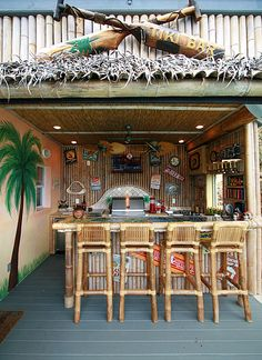 transform the patio to a tiki bar