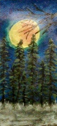 Fenyők holdvilágnál. Akvarell, papír.