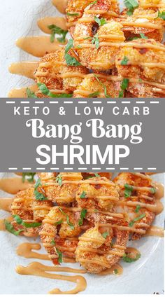 """This easy recipe for keto bang bang shrimp is the best low carb way to enjoy this restaurant copycat from Bonefish Grill. Shrimp is """"breaded"""" in a low carb mixture and can be air fried, pan fried or baked in the oven. It's then topped with a spicy bang bang sauce that you'll want to put on everything!"""