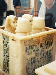 During embalming, Tut's intestines were placed in these canopic jars and store inside the golden chest with the inward facing guardians.