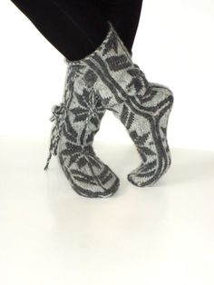 Valentines Grey to Gray Comfy Slippers by aykelila on Etsy, $42.00
