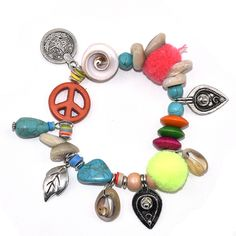 2017 Bohemia sea beach friendship bracelets Boho peace symbol charm bracelet turquoise beaded Pompous bangle Bracelets