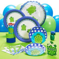 Turtle Baby Shower Theme | Mr. Turtle Baby Shower - Standard Party Pack for 8 | ThePartyWorks