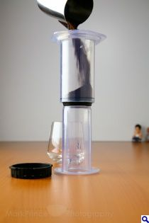 Adding coffee for an inverted AeroPress brew. This is the best way!