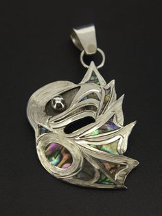 Gregory Williams, Sterling Silver Pendant with Abalone Inlays, Eagle, Northwest Coast Native Art