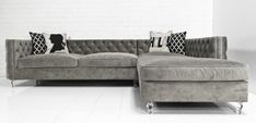 New Deep Inside Out Sectional in Granite Velvet by ModShop