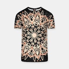 Metallic Mandala T-shirt, Live Heroes Black Marble Background, Custom T, Your Style, Mandala, Metallic, Men Casual, Live, Mens Tops, T Shirt