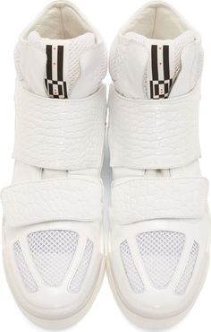 Giuliano Fujiwara White Croc-Embossed High-Top Sneakers