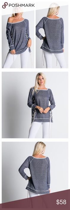 Fall/Winter New Arrival! Lace Up Tunic Top This listing is for a side slit long sleeve tunic featuring lace up details. Soft and comfy! 60% Polyester, 40% Cotton. Made in the U.S.A. Brand new! Available in sizes: Small, Medium, Large. Tops