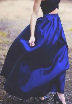 Gorgeous Color! Royal Sapphire Blue Plain Ruffle Loose Fashion Long Maxi #Royal #Sapphire #Blue #Skirt #Maxi #Skirts #Bottoms #Holiday #Fashion #Outfit #Ideas