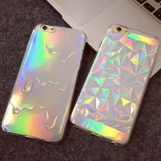2015 New 3D Diamond Bling Laser Melting Rainbow Colors Phone Case For iPhone 5S 5 6 6s Plus Fashion Soft TPU 2 IN 1 Case Cover