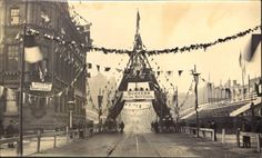 Deansgate, Manchester, May 1894 - Decorated for Queen Victoria's Visit to Open the Manchester Ship Canal, may 1894