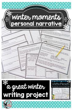 $ Winter Moments Personal Narrative Writing Project is designed to allow your students to practice their personal narrative writing centered around a fun winter moment. This resource includes a brainstorming page, a writing organizer, leads and endings practice, drafting paper, an editing checklist, and a variety of final copy writing papers. Teacher Notes are also included! $