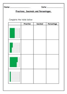 FREE fractions, decimals and percentages worksheets!