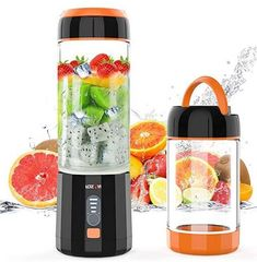 Smoothie Blender, LOZAYI Portable Blender Travel USB Rechargeable Juicer Cup for Shakes and Smoothies, Cordless Small Personal Blender Fruit Mixer Mini Blender with Led Displayer for Outdoor Travel Home Office (Orange) Juicing With A Blender, Mini Blender, Portable Blender, Juice Blender, Smoothie Mixer, Smoothie Prep, Smoothies, Baby Food Recipes, Keto Recipes
