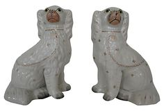 These are just like the ones our cat destroyed. Antique Staffordshire  Spaniels, Pair on OneKingsLane.com
