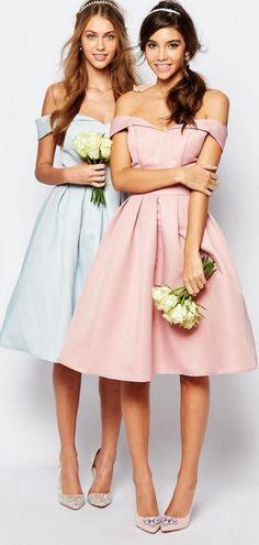 Chi Chi London Midi Prom Dress With Full Skirt And Bardot Neck
