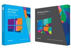 """Nova Embalagem do Windows 8, previsto para ser lançado no dia 26 de outubro.O design das caixas destaca a nova interface do sistema operacional, chamada de Metro, que traz os aplicativos como """"azulejos"""" na tela inicial do software."""