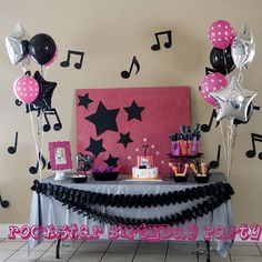 Rockstar Party - Capturing Joy with Kristen Duke Music Theme Birthday, Dance Party Birthday, Music Themed Parties, Birthday Backdrop, 10th Birthday Parties, Birthday Ideas, Cake Birthday, Rockstar Party, Rockstar Birthday