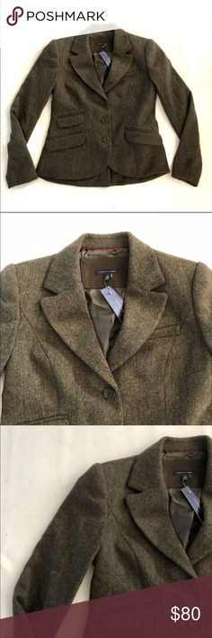 "NWT Tommy Hilfiger wool blazer S NWT Tommy Hilfiger blazer in size small.  Chest 37"",  length 24"",  sleeve 23.5"".  Made out of Beautiful green herringbone  wool blend twill. Tommy Hilfiger Jackets & Coats Blazers"