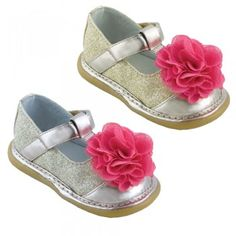 Wee Squeak Baby Toddler Girls Gold Silver Sparkle Strap Shoes 3-12