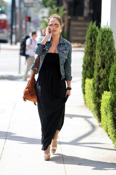 Jessica Alba wore an AG Adriano Goldschmied denim jacket over a flowy maxi dress and silver wedges as she headed to a Beverly Hills salon for a pampering session. 09/11/2011