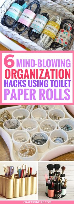 Organize like never before with these AMAZING toilet paper roll hacks! Great ways to reuse and recycle toilet rolls that organizes so many things. Best organization diy projects!