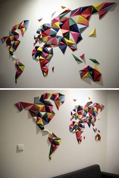 10 world map designs to decorate a plain wall map design modern this colorful 3 dimensional world map is one that you make yourself using durable paper thats been pre cut and pre creased to make assembly easy and fun gumiabroncs Gallery