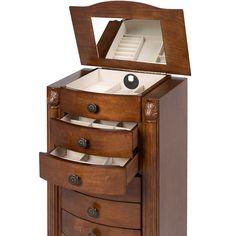 Armoire Jewelry Cabinet Box Storage Chest Necklace Wood Walnut Stand