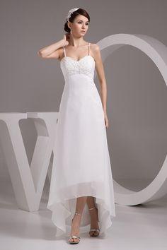 Beautiful High Low Sweetheart Spaghetti Straps Beaded Appliques Beach  Wedding Dress 8d5a4c8e11e3