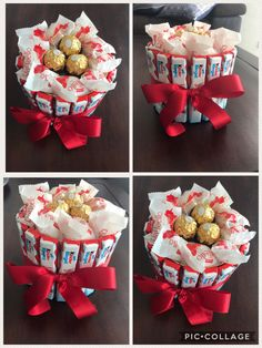 Kinder-Ferrero-Raffaello Basteltorte DIY Diy Bouquet, Candy Bouquet Diy, Cookie Bouquet, Candy Gifts, Xmas Gifts, Diy Gifts, Food Gifts, Homemade Gifts, Favorite Candy