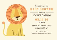 Baby Animal Lion Baby Shower Invitation for a Boy or Girl or Neutral