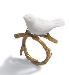 Lladro Re-Cyclos Magic Forest Collection, Open Necklace, 18 Karat Gold Plated Sterling Silver Jewellery with White Porcelain Dove ♥ Source: Lladro, Designer: Bodo Sperlein Bird Jewelry, Ceramic Jewelry, Cute Jewelry, Jewelry Box, Jewelry Rings, Jewelry Accessories, Jewelry Design, Jewellery, Bridal Accessories