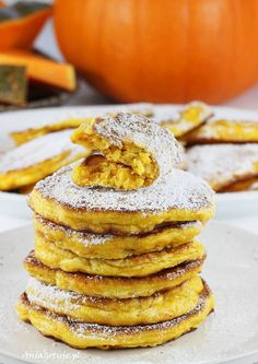 Placki z dyni.  Pumpkin pancakes. Pumpkin Pancakes, Pain, Bagel, Doughnut, Kids Meals, Biscuits, Curry, Appetizers, Food And Drink