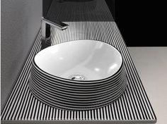Ceramic washbasin countertop TEXTURE   Washbasin countertop - Olympia Ceramica