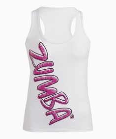 """<p+style='margin-bottom:0px;'>Prove+a+Zumba®-ready+persona+with+this+poppin'+racerback+tank.+The+slim+silhouette+is+enhanced+with+a+large+and+in+charge+logo+for+a+head-turning+look,+while+comfy+stretch+cotton+keeps+the+feel+soft+and+fabulous.<p+style='margin-bottom:0px;'><li+style='margin-bottom:0px;'>Measurements+(size+S):+22+3/4""""+length<li+style='margin-bottom:0px;'>90%+cotton+/+10%+spandex<li+style='margin-bottom:0px;'>Machine+wash;+dry+flat<li+style='margin-bottom:0px;'>Imported<br+/>"""