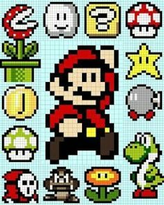 Mario Bros x-stitch Mario Crochet, Pixel Crochet, Crochet Chart, 8 Bit Crochet, Cross Stitching, Cross Stitch Embroidery, Cross Stitch Patterns, Hama Beads Patterns, Beading Patterns