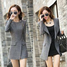 Fashion Women Gray Slim Fit Coat