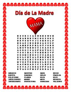 Spanish Mother's Day - Word Search and Cross Word Puzzle-Dia de la Madre from La Señora H on TeachersNotebook.com -  (2 pages)  - This exciting  lesson  includes a Word Search & Cross Word Puzzle.  An amazing lesson to celebrate Mother's Day in your classroom.  You will also review adjectives using cognates.
