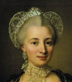 Detail from a portrait of an unknown lady by Ulrika Fredrica Pasch, 1770 the Wired cap