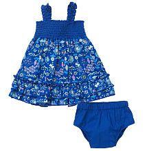 Koala Baby Girls' Blue Batik Print Sleeveless Smocked Dress and Diaper Cover Set