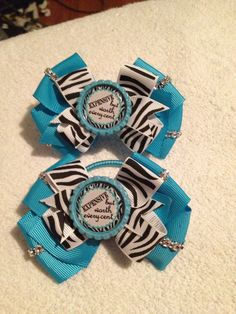 Turquoise and zebra hair bow