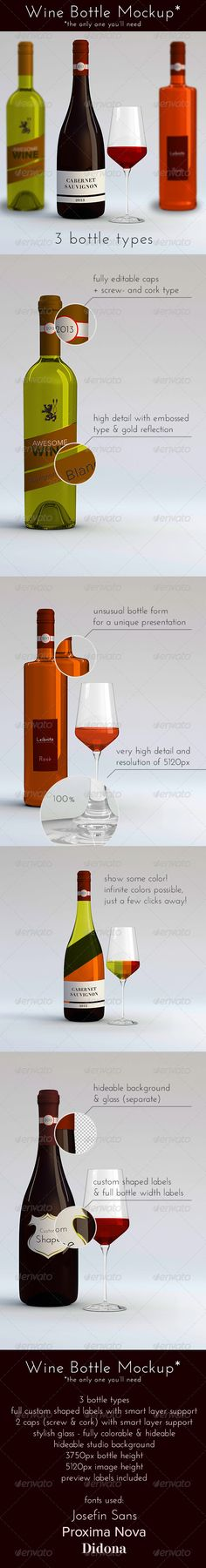 3 Wine Bottles v2 with Glass by danielwinter A mockup for 3 highly detailed wine bottles and a wine glass. The label of the bottles is highly customizeable with custom shapes
