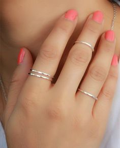Lovely Pink Nail and Silver Nuckle Rings For Prom