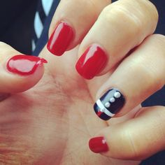 Marine ball nails. Red & blue. These are adorable hahahaha Usmc Nails, Military Nails, Marine Nails, Cute Nails, Pretty Nails, Girly Things, Girly Stuff, Nail Decals, Cute Nail Designs