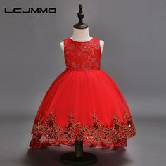 LCJMMO Flower Girl Dress Red Mesh Trailing Butterfly Girls Bridesmaid Wedding Dress Kids Ball Gown Embroidered Bow Party Dress