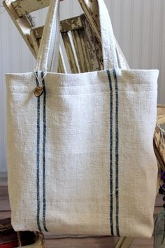 Vintage French Grain Sack Tote Bag Blue Stripes