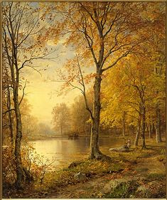 """""""Indian Summer"""" ... by William Trost Richards 1875. The Metropolitan Museum of Art, New York. Bequest of Collis P. Huntington, 1900"""