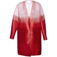Antonio Berardi Scarlet Red Duster Coat (94.695.075 VND) ❤ liked on Polyvore featuring outerwear, coats, coats & jackets, jackets, antonio berardi, duster coat, striped coat, collarless coat and red coat